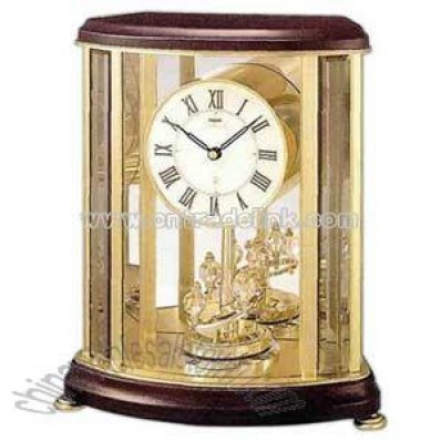 Clock with wooden case