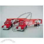 Coca cola truck toys metal cabin with plastic trailer.