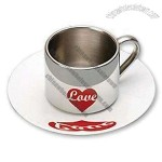 Coffee Cup and Saucer Set with Double Stainless Steel Walls