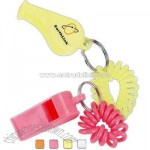 Coil wrist bracelet with plastic whistle.