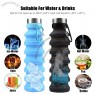 Collapsible Water Bottle with Carabiner - Reuseable BPA Free Silicone Foldable Water Bottles for Travel Gym Camping Hiking