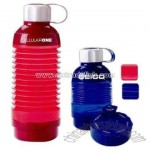 Collapsible water bottle with 7 day child resistant pill box