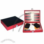 Collectible Table Game Set, Red Leather Backgammon Case