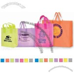 Color Frosted Plastic Shopping Bag With Cardboard Bottom Insert, 10