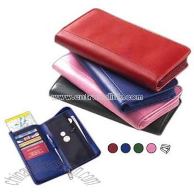 Colored leather passport wallet