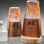 Colorful Crystal Trophy Award with Wood Base