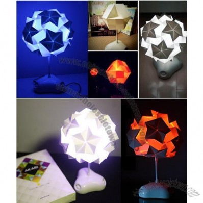 Colorful DIY Paper Folding Table Lamp