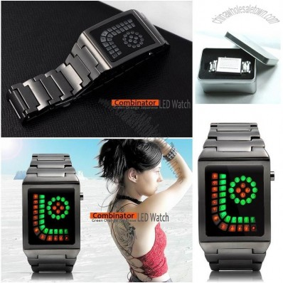 Combinator-Creative Green Orange LED Watch