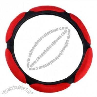 Comfortable Steering Wheel Cover With 3d Flocking Red