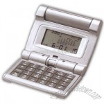 Compact folding travel clock with calculator