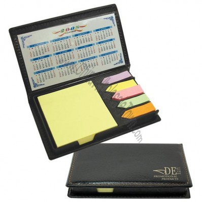Compact leatherette sticky notes holder and flags with calendar