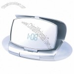 Compact mirror with built-in LED light and alarm clock