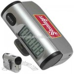 Compact pedometer with jumbo LCD display and belt clip