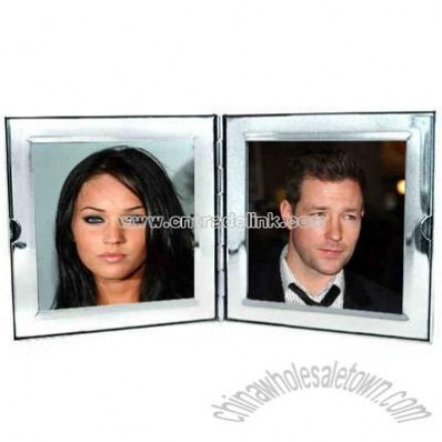 Compact square double photo frame