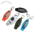Compass Whistle keychain with Thermometer