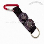 Compass and Thermometer Keychain with Carabiner