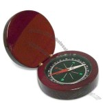Compass with Wood Case and Analog Clock