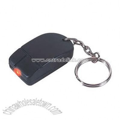 Computer mouse shape key chain with miniature flashlight
