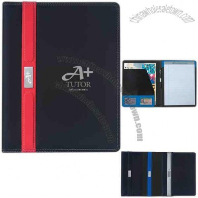 Contemporary - Portfolio With 30 Page Writing Pad, Pen Loop, And Card Holders
