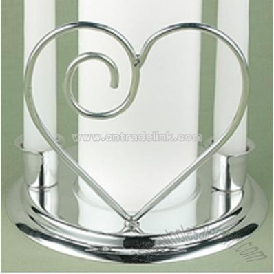 Contemporary Heart Unity Candle Holder Set