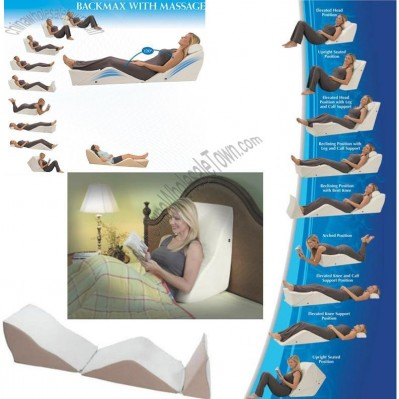 Contour Back Max Zero Gravity Wedge Cushion System with Massage and Free Memory Foam Pillow