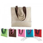 Contrast Straw Tote Bag