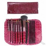Cosmetic Brush Set with Goat, Sable Hair and Aluminum Ferrule