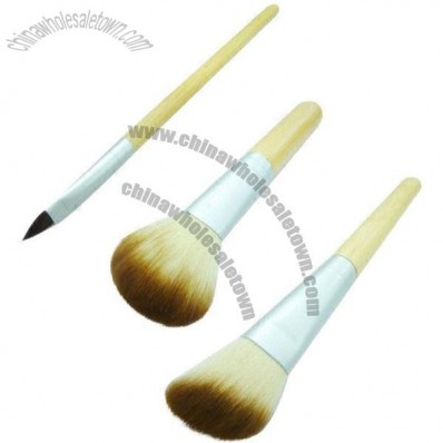 Cosmetic Brush with Matte Aluminum Ferrule and Transparent Bamboo Handle