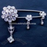 Costume Pin Brooch with Rhinestones