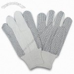 Cotton Drill PVC Dots Gloves with Knit Wrist