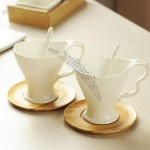 Couple Coffee Mug Set with Spoon and Dish