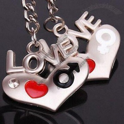 Couple Heart Shaped Love Keychain