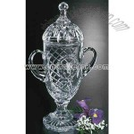 Covered lead crystal trophy cup
