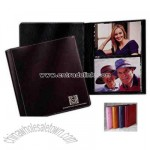 Cowhide photo portfolio with silver contrast stitching