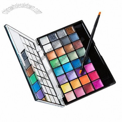 Creamy Eyeshadow Palette, 32 Color Cream Ingredient Also Mirror and Eye Shadow Brush for Makeup