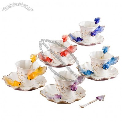 Creative Enamel Goldfish Coffee Mug Saucer Set