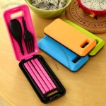 Creative travel folding chopsticks spoon fork three-piece Set