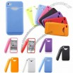 Credit ID Card Holder Silicone Back Case for iPhone 4