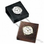 Croco Leather Table Clock