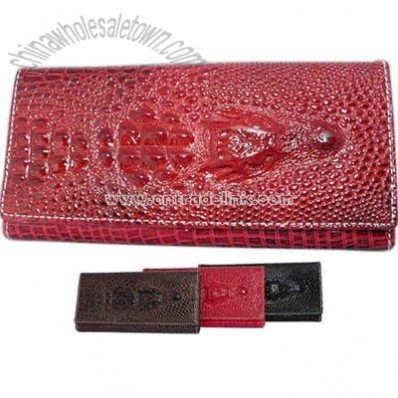 Crocodile motif faux leather clutch wallet