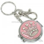 Crown Compact Mirror Locket Purse Charm - Pink