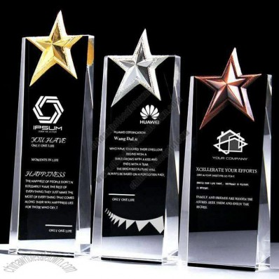 Crystal Award Trophy with Top Star