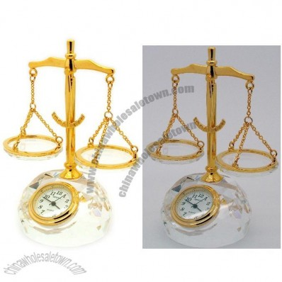Crystal Balance Scales Clock