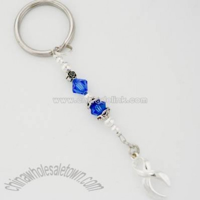 Crystal Blue Awareness Ribbon Keychain