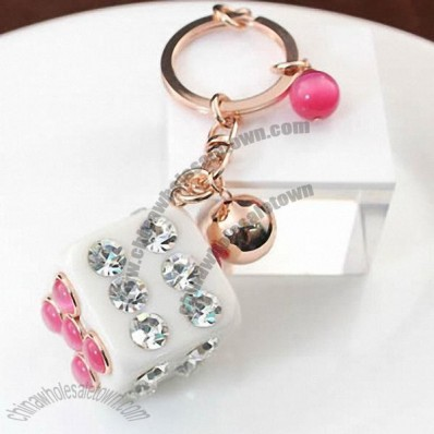 Crystal Charm Keychain Key Ring - Dice