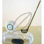 Crystal Golf Ball Clock with Putter Pen