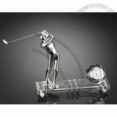 Crystal Golf Gifts with Clock