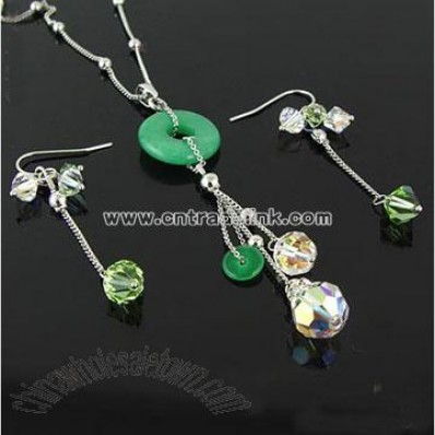 Crystal Necklace Set Green Jade Necklace Set