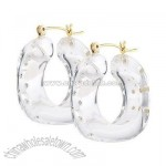 Crystal Studded Resin Hoop Earrings