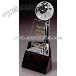 Crystal award with globe